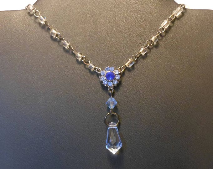 FREE SHIPPING Blue crystal necklace, up-cycled vintage glass beads rhinestone center, blue Swarovski crystal briolette, gunmetal chain