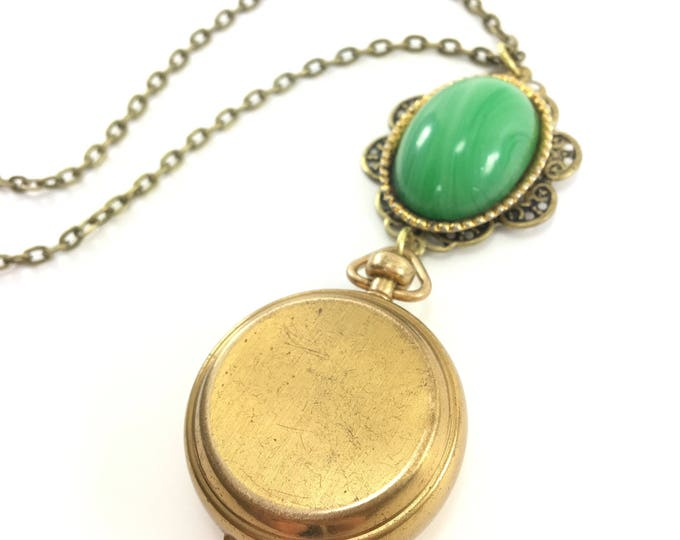 Vintage Brass Pillbox Locket Necklace with Green Oval Cabochon