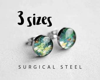 Monet post earrings, Surgical  steel stud, Tiny earring studs, Art stud earrings, Floral earrings