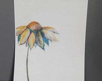 Print of original artwork colored pencil colorful flower daisy nursery children red green blue yellow white botanical rainbow vibrant pretty