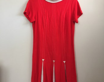 1960s mod red shift dress