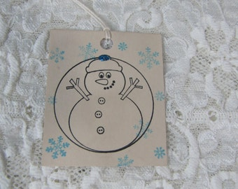 Snowman Snowflake Blue Glitter To From Vintage Holiday Christmas Tags set of 8