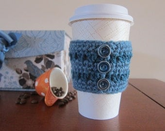 Cup Cozy in Blue, Blue Button Cozy, Crocheted Cup Cozy, Coffee Cup Cozies, Coffee Sleeve, Travel Cup Cozy, Cozy for Coffee Cup, Cup Cozies