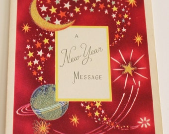 Vintage 1940s Glittery NEW YEAR'S Card - Celestial Moon & Stars Design (Unused)
