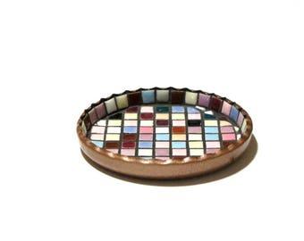 Mosaic Tile Pin Dish 1960s MCM Ashtray Multi-Color Scalloped Top Trinket Bowl Coaster Copper Tone Metal Desk Accessory