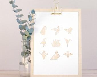 White origami bird A4 papercut