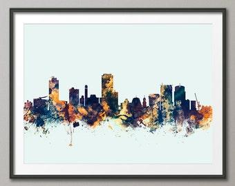 Wellington Skyline, Wellington New Zealand Cityscape Art Print (2568)