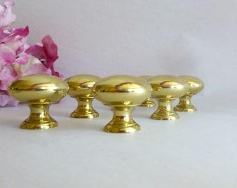 Seven Brass Drawer Knobs,  Cabinet Pulls,  Furniture Hardware