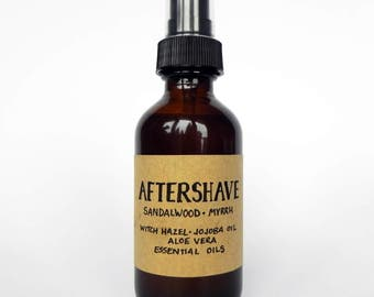 AFTERSHAVE - Sandalwood Myrrh - Witch Hazel and Essential oils - Natural & Vegan