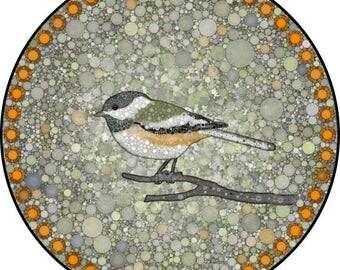 "Chickadee Art Print, Mandala Art, Bird Print, Circle Print, ""Chickadee Bubblewheel"""