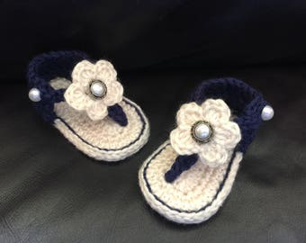 Crocheted Baby Girl Sandals (Navy & Cream)