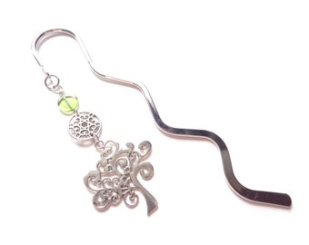 Tree Of Life Bookmark, Tree Bookmark, Green Bookmark, Silver Bookmark, Metal Bookmark, Nature Bookmark, Beaded Bookmark, Handmade Bookmark