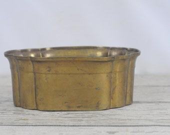 Vintage Decorative Solid Brass Bowl Scalloped Design Planter