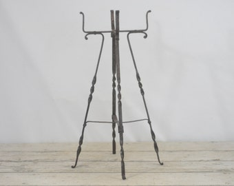"Antique Plant Stand Wrought Iron 24.25"" Stand"