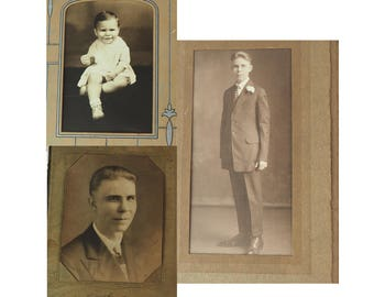 Antique Photographs- Choice of Four- Sepia- Black & White- Early 1900's- Boy, Adolescent, Man- In original paper folders- Vintage