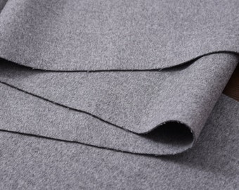 """cashmere wool Fabric -Light Gray double-faced 59"""" width 800 g fashion wool fabric for Winter coats/capes/dresses/skirts/scarves - 1 yard"""