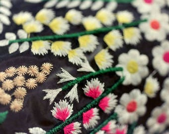 """Embroidered organza fabric, floral embroidery, 53"""" Organza fabric for Dresses, skirts, curtains, BTY"""