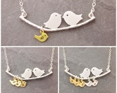 Mom Necklace, 1-10 kids, initial necklace, mothers day, twins, love birds necklace, gifts for mom, mother daughter, personalized, N1