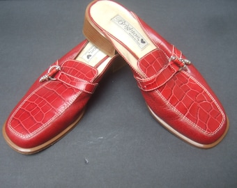 Italian Embossed Red Leather Shoes by Brighton US Size 7 M