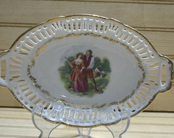 Vintage German Reticulated Oval Bowl Gold Trim Germany 158 Cutouts Romantic Farm Couple Porcelain Dish Home Decor