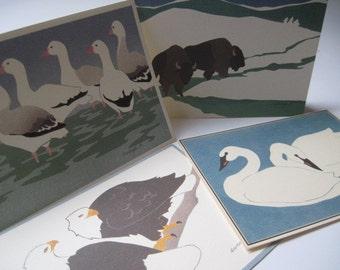 Vintage Lot of 4 Crane Creek Graphics Wendy Morgan Artwork Blank Cards