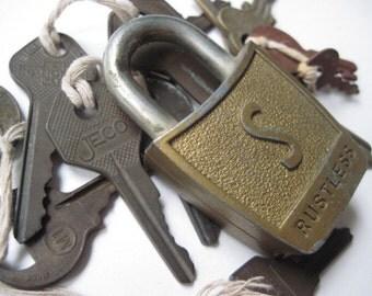 Vintage Slaymaker Padlock and Collection of Keys