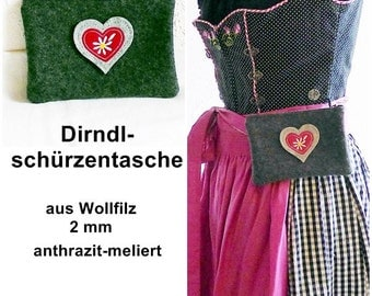 wool felt - Dirndl apron anthracite embroidered