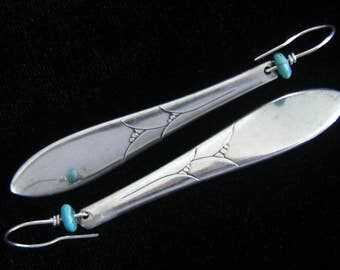 Long Silverplate Spoon Handle Earrings.  Turquoise Heishi Bead between Ear Wire and Long Drop.