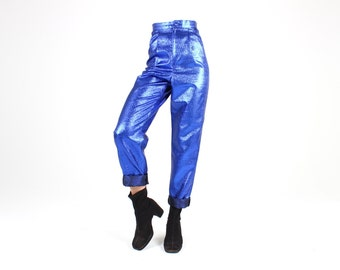 80s Michael Jackson Metallic Electric Blue Holographic Shiny Stage / Dance Costume Skinny Tapered Suit Pants / Trousers / Slacks