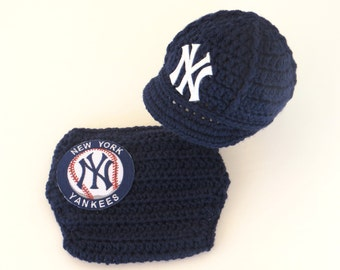 Newborn Baby New York Yankees Outfit Set, Hat, Cap, Diaper Cover, Knitted Crochet, Baby Gift, Photo Prop, Baseball, MLB