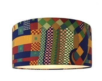 Vintage 70s Liberty Bauhaus Fabric Lampshade Ceiling Pendant
