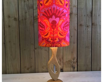 Hand Made Retro 60s 70s Style Wooden Lamp Base & Vintage Marrakesh Fabric Light Shade