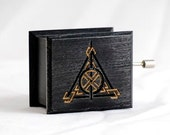 Harry Potter Deathly Hallows music box black - soundtrack and design inspired handmade wooden music box