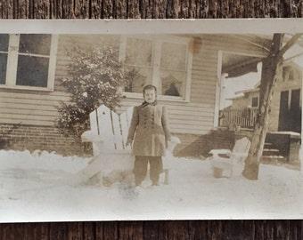 Original Vintage Photograph Nancy's First Snow Day 1940