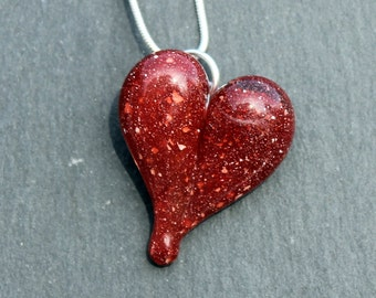 Glass Heart Necklace, Blown Boro Pendant, Lampwork Focal Bead Red Heart with White flecks
