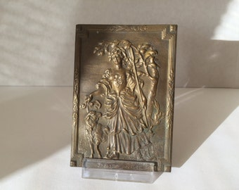 Antique French Bronze Plaque. Victorian Woman''Shepherdess'' with  Sheep