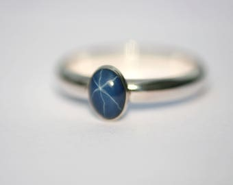 Lab Created Blue Star Sapphire Sterling Silver Ring