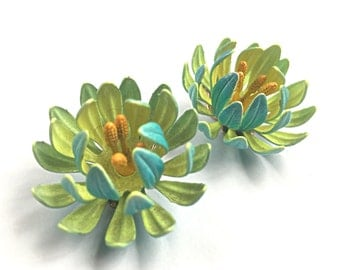 Vintage Flower Clip On Earrings - Blue Outer Petals with Yellowish / Green Inner - Enamel Chrysanthemum