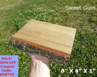 Live Edge Sweet Gum Wood Slab Finished DIY Floating Shelf, Natural Edge Shelving, Photo Ledge, Corner Shelf, Table Trivet, Trophy Shelf 0112