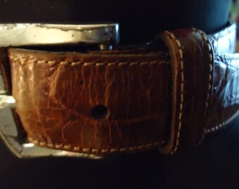 Vintage 1980s Boho Gypsy Hippie Dark Brown Leather Distressed Belt With Silver Buckle Unisex