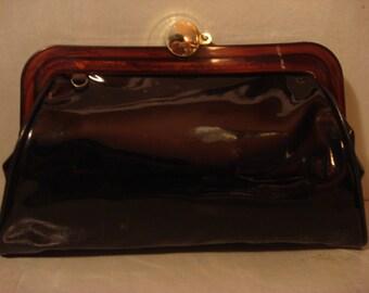 Vintage 1960s Black Patent Clutch Handbag