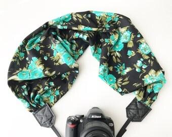 Scarf Camera Strap for dSLR digital cameras -green and black floral camera strap