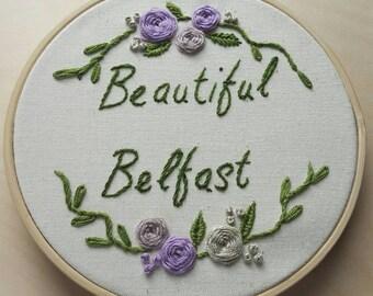 Beautiful Belfast Hand stitched embroidery art