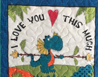 Baby Boy Dinosaur Quilt Blanket, Blue, Green, White, Minky, Brontosaurs, Triceratops, I Love You This Much, Quiltsy, Handmade