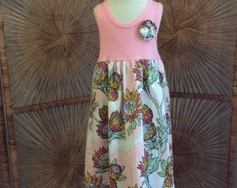DREAMWEAVER TANK DRESS ... Pink tank dress, matched with Joel Dewberry  fabric, with hand sewn yoyo
