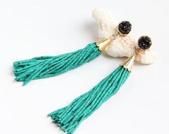 Turquoise Tassel Earrings, Black Druzy, Drusy, Gemstone Statement Earrings