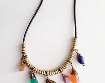 Semi Precious Stone Necklace, Beaded Necklace, Leather Beaded necklace