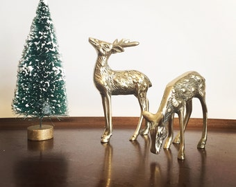 Brass Deer Pair - Mid Century Modern Decor