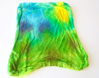 Silk Hankies (Mawata) to Spin, Knit, or Felt - One-of-a-Kind Hand Painted Silk Hankies #7 - 11 grams