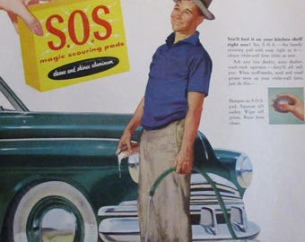 S.O.S. PADS Original 1950's Vintage Advertisement Whitewall Tires Car Garage Decor Ready To Frame Additional Ads Ship FREE